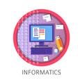 informatics subject studies themed concept logo vector image vector image