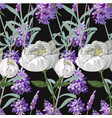 lavender and peony with leaves seamless pattern on vector image vector image
