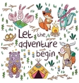 Let the adventure begin Hand drawn camping vector image vector image