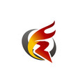 letter r fire vector image vector image