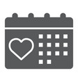 love calendar glyph icon valentine and holiday vector image vector image
