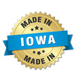 made in Iowa gold badge with blue ribbon vector image vector image