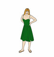 mother of a family in green dress vector image vector image