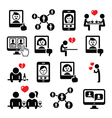 Online dating apps couples on date icons vector image vector image