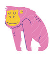 pink gorilla animal cartoon doodle color vector image