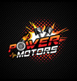 power motor logo with piston and turbochargerweb vector image vector image