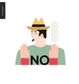 Refusing man in a hat vector image