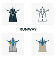 runway icon set four elements in diferent styles vector image