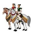 Samurai warriors riding horses designed on sunset vector image