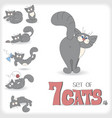 Set of seven playful cats vector image