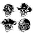 skull characters collection vector image vector image