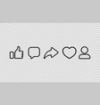 social media line icon heart like share comment vector image vector image