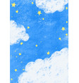 star on night sky with cloud hand drawing vector image