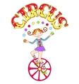 teenage girl juggler on unicycle with inscription vector image vector image