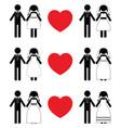 groom and bride icon sets vector image