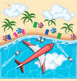 aerial view of airplane flying over the ocean vector image vector image
