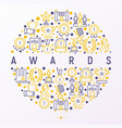 awards concept in circle with thin line icons vector image vector image