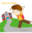 boy feeling happy to going back to school vector image vector image