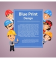 Builders Presenting Blue Print Poster vector image vector image