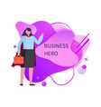 business hero woman holding briefcase in hands vector image vector image