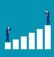 business people looking at bar graph concept vector image