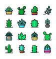 cactuses icons set vector image vector image
