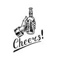 cheers toast glass beer in vintage style vector image