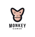 Chimp gamer logo joystick monkey face