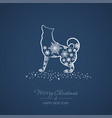 christmas and new year card with a dog vector image vector image