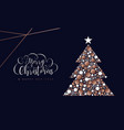 christmas and new year copper circle tree card vector image vector image