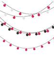 christmas lights strings flat xmas garland vector image vector image