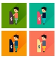 Concept flat icons with long shadow people ATM vector image vector image