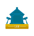 court building icon with a pair of gavels vector image