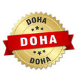 doha round golden badge with red ribbon vector image vector image