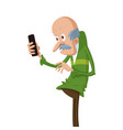 elderly man with smartphone vector image vector image