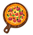 fresh pizza with different ingredients tomato vector image vector image