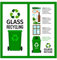garbage green container info with glass vector image vector image
