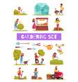 gardening cartoon icons set vector image