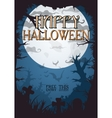 halloween night graveyard old style background vector image