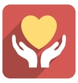 Heart Care Hands Flat Rounded Square Icon with vector image vector image