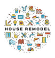 house remodel circle infographics construction vector image vector image