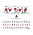 japan cartoon font japanese national flag colors vector image