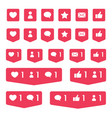 like comment and follower icons social media vector image