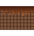 melted chocolate on chocolate bar vector image