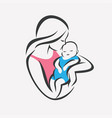 mother and bastylized symbol mom kiss her vector image vector image