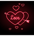 Neon sign Love heart vector image vector image