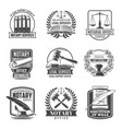 notary service notarial office icons set vector image vector image