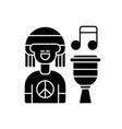reggae music black glyph icon vector image vector image