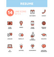 resume - modern simple thin line design icons vector image vector image