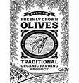 Retro olives poster black and white vector image vector image